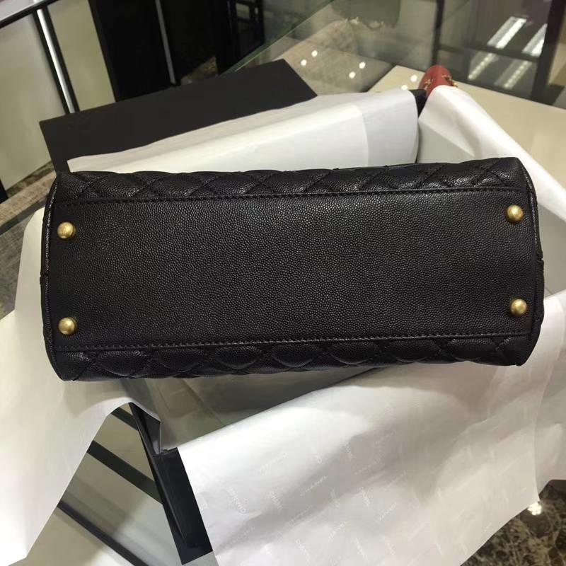 Chanel 香奈儿 COCOHandle 黑色牛皮 复古金链 28cm