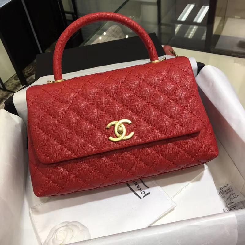 Chanel 香奈儿 COCOHandle 红色牛皮 复古银链 28cm