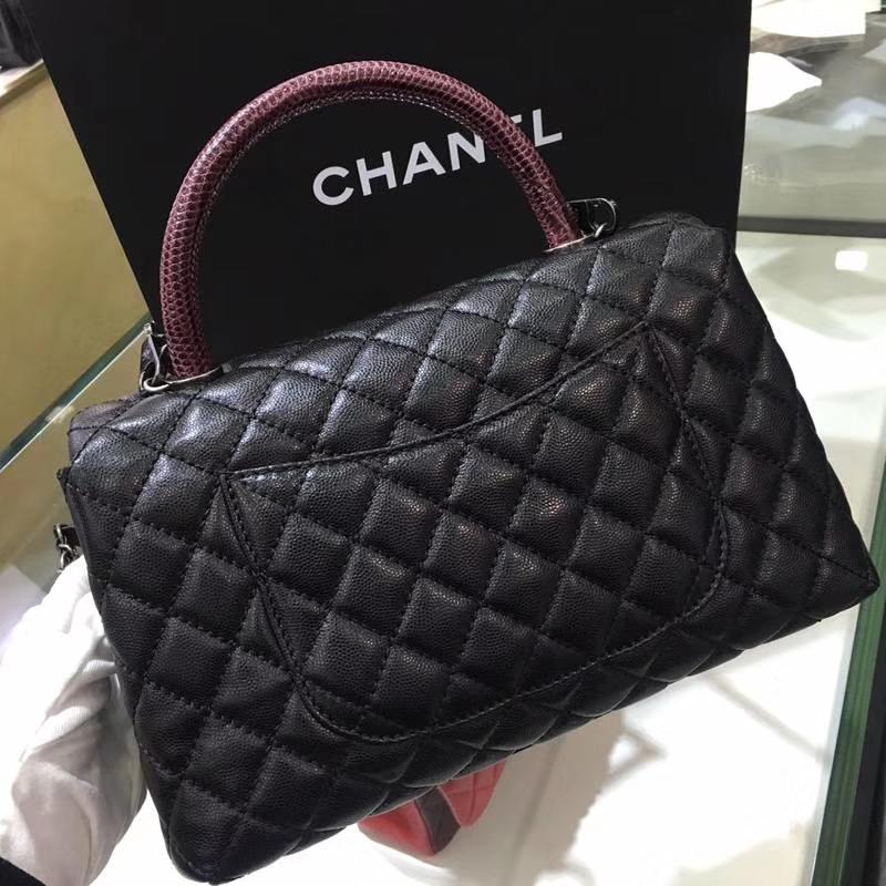 Chanel 香奈儿 COCOHandle 黑色牛皮 复古银链 28cm