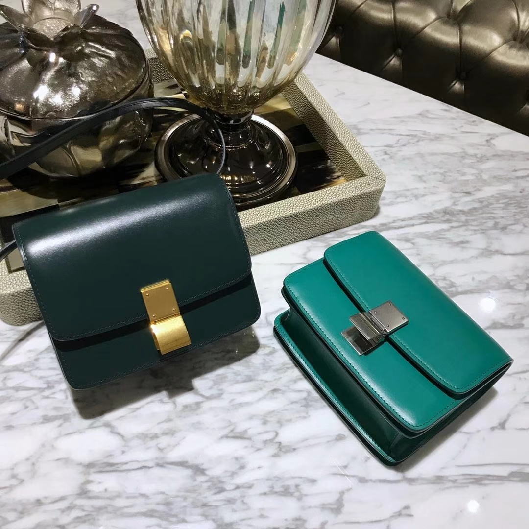 CÉLINE(赛琳)豆腐包 box小号 16cm 墨绿色 孔雀绿