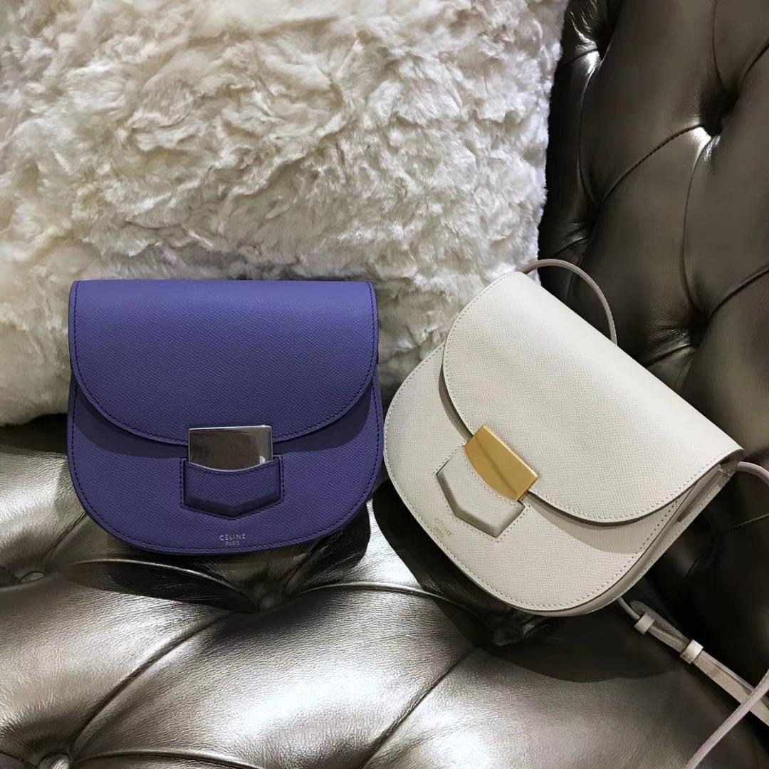 Celine 思琳 五角包 23cm 经典白色 葡萄紫 白色 原厂掌纹皮