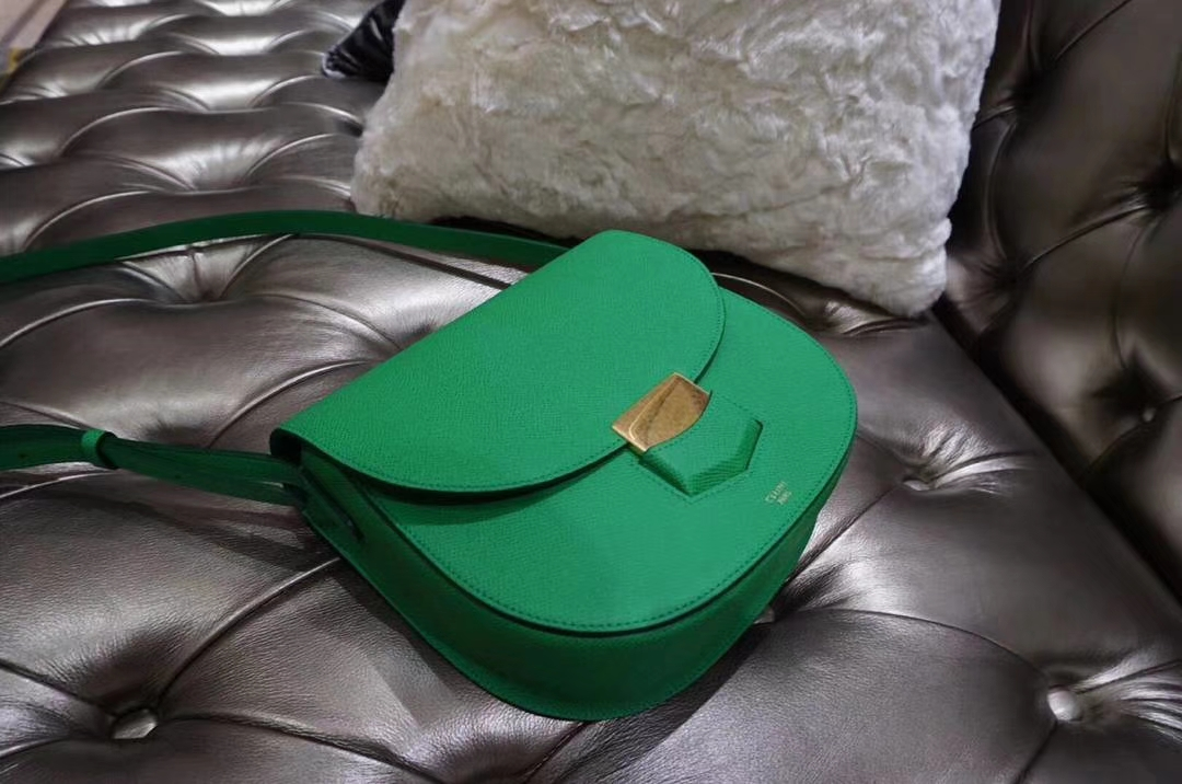 Celine 思琳 五角包 23cm 竹子绿 仙人掌绿 原厂掌纹皮