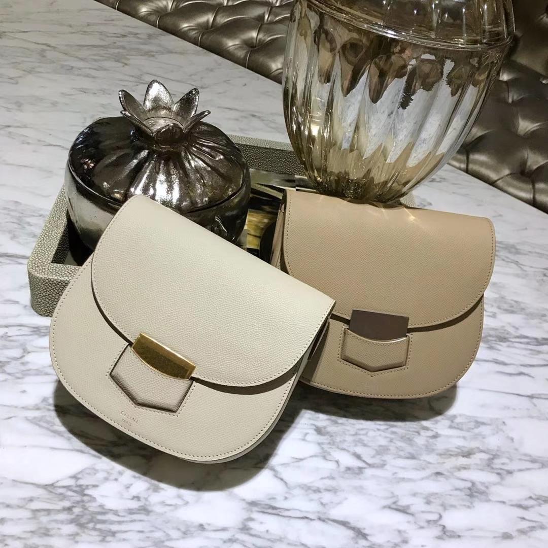 Celine 思琳 五角包 23cm 经典白色 大象灰 原厂掌纹皮