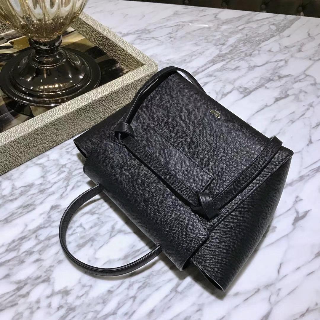 Celine 鲶鱼包mini 20cm 经典的黑色 自留款 掌纹皮