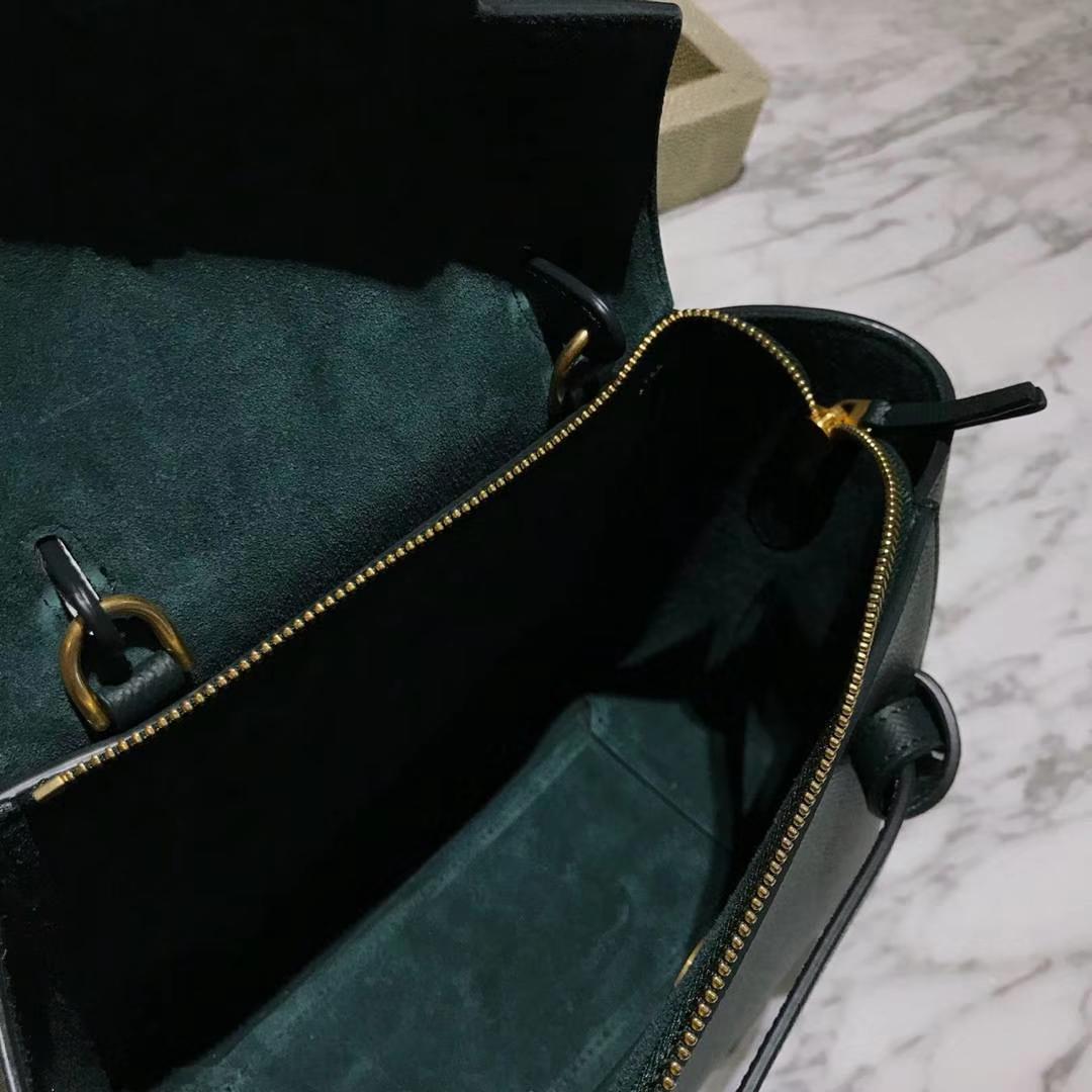 Celine 鲶鱼包mini 20cm 贵气墨绿色 掌纹皮