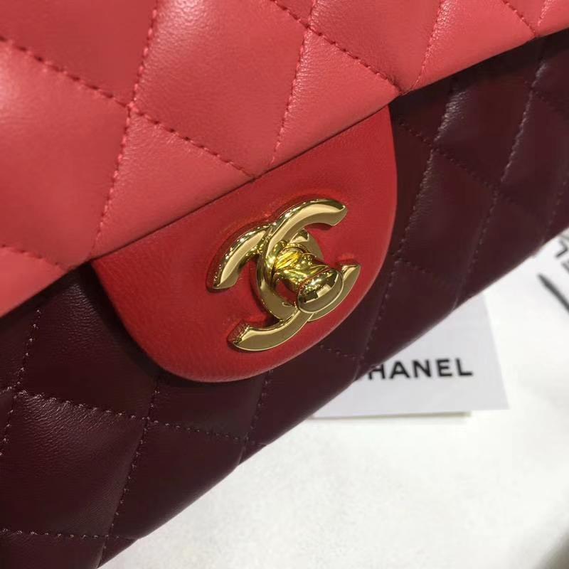 Chanel 香奈儿  CF 经典系列 小羊皮 拼色 25cm 金扣 现货