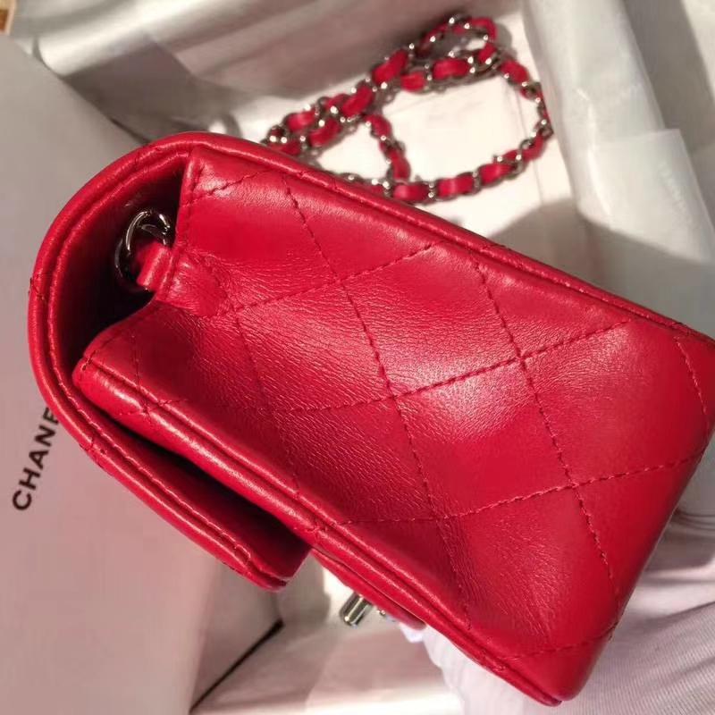Chanel 香奈儿 CF 经典系列 小羊皮 大红色 20cm 银扣 现货