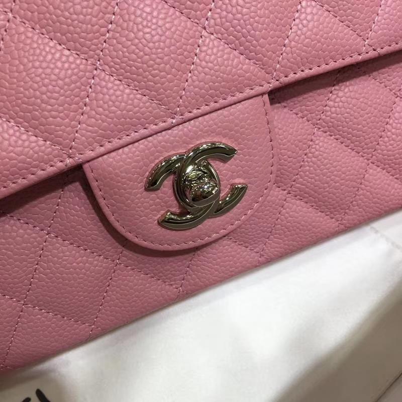 Chanel 香奈儿 CF 经典系列 鱼子酱 桃粉 25cm 银扣 现货