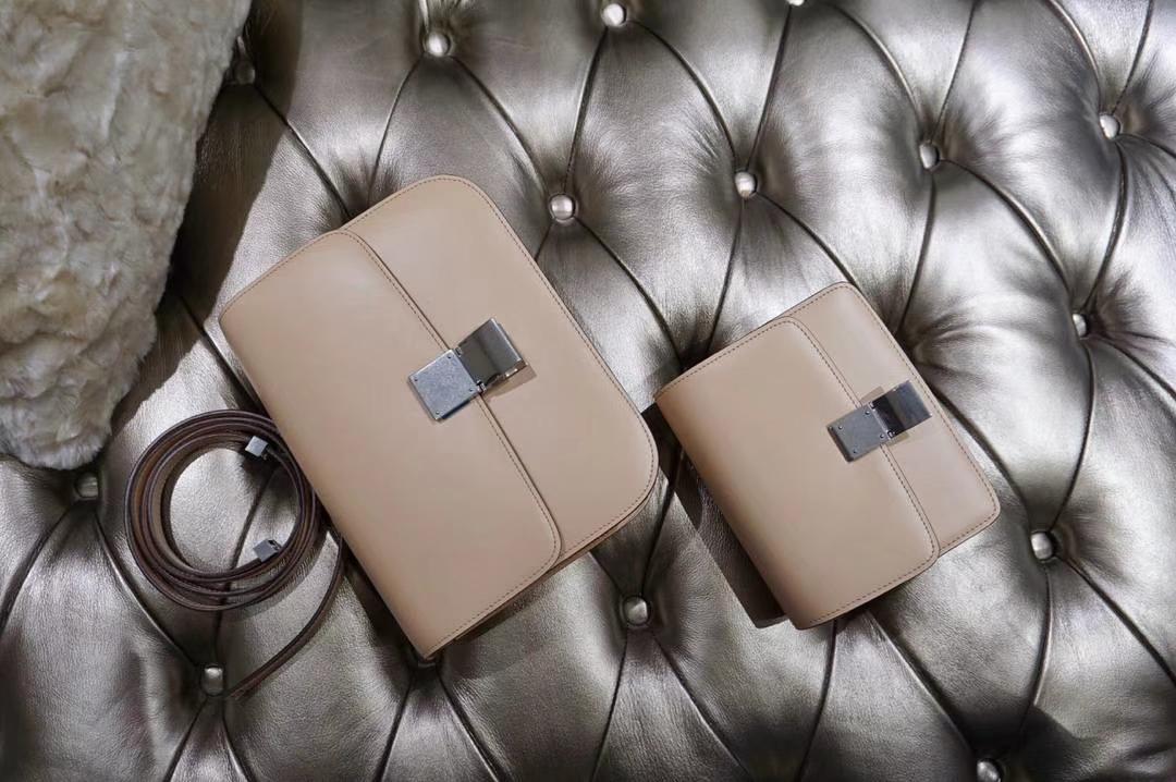 Celine 思琳 最新版本 box豆腐包 24cm 实拍 专柜同步 最新做法 优雅时尚 裸粉 银扣