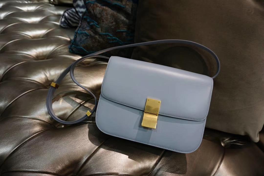 Celine 思琳 最新版本 box豆腐包 24cm 实拍 专柜同步 最新做法 优雅时尚 亚麻蓝 金扣