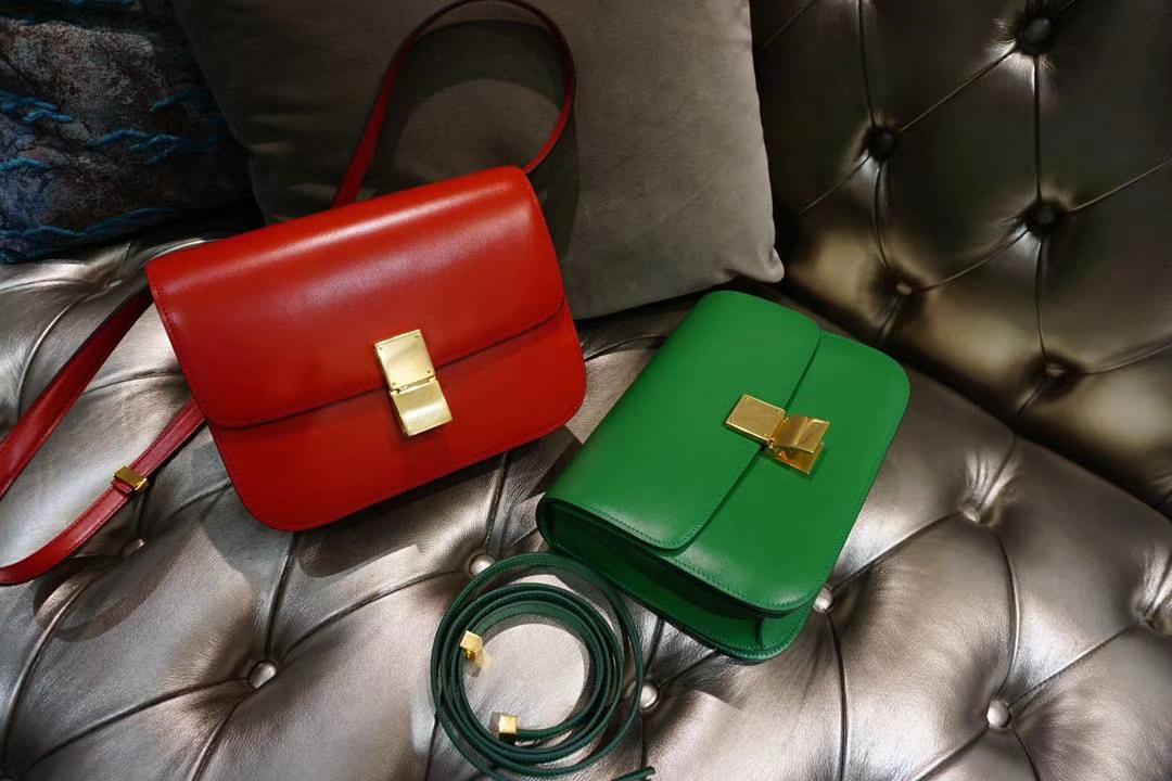 Celine 思琳 最新版本 box豆腐包 24cm 实拍 专柜同步 最新做法 优雅时尚 正红 竹子绿 金扣