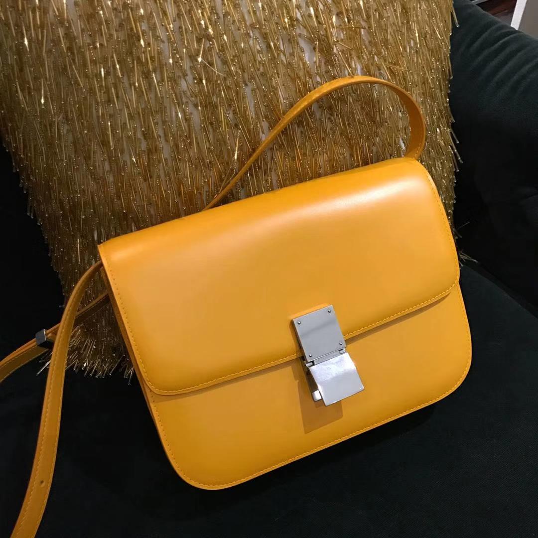 Celine 思琳 最新版本 box豆腐包 24cm 实拍 专柜同步 最新做法 优雅时尚 芒果黄 金扣