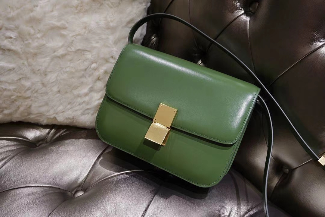 Celine 思琳 最新版本 box豆腐包 24cm 实拍 专柜同步 最新做法 优雅时尚 草丛绿 金扣