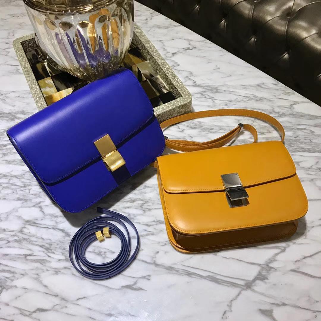 Celine 思琳 最新版本 box豆腐包 24cm 实拍 专柜同步 最新做法 优雅时尚 电光蓝 芒果黄
