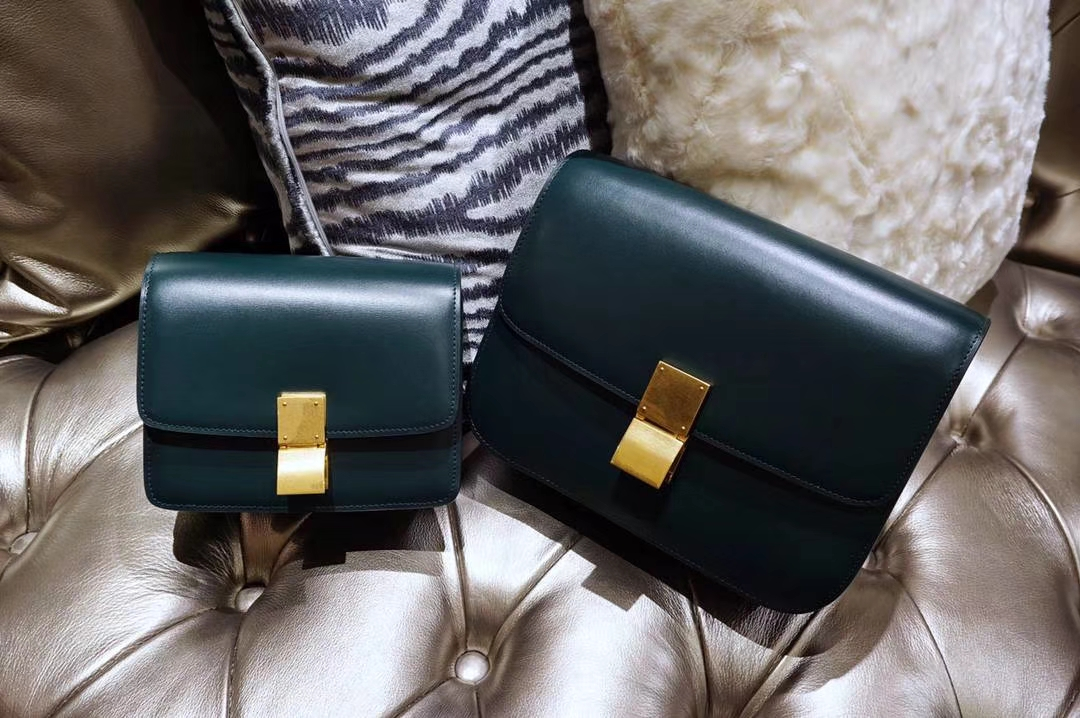 Celine 思琳 最新版本 box豆腐包 24cm 实拍 专柜同步 最新做法 优雅时尚 墨绿色