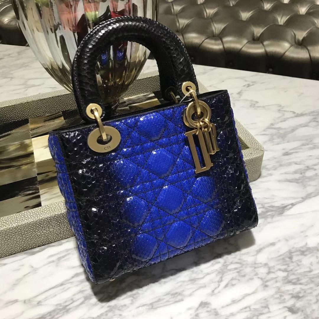 Dior 迪奥 印尼进口蛇皮 整张蟒蛇皮制作 美美的蓝色渐变色 四格翻盖戴妃包
