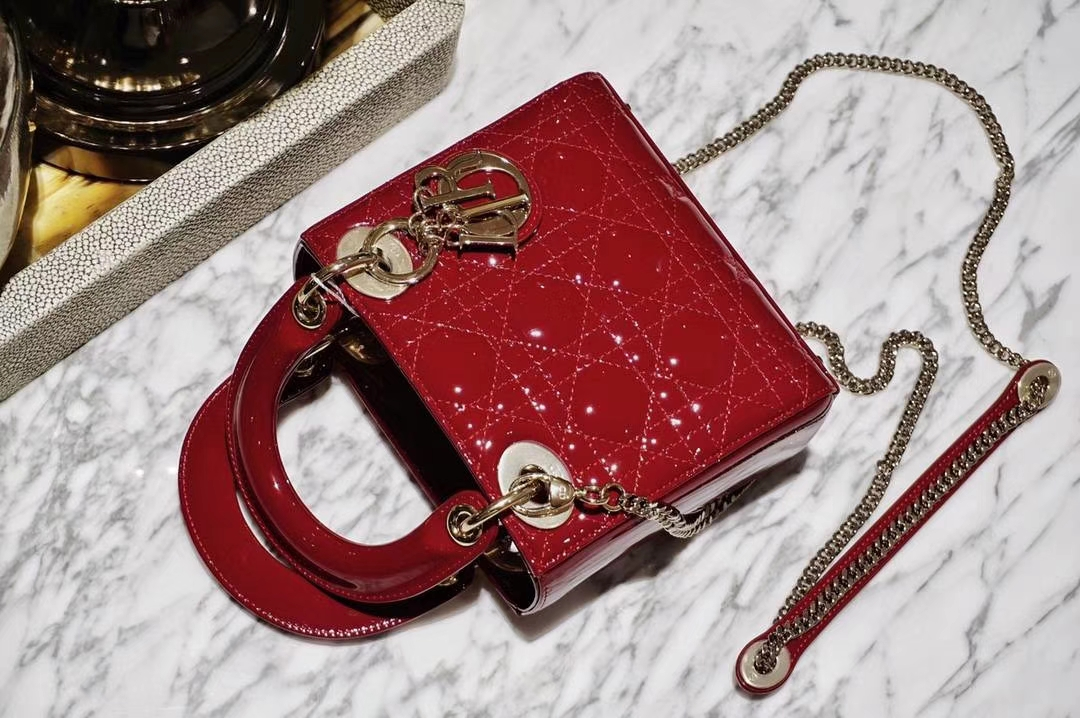 Dior 迪奥 酒红色 mini 戴妃包 金扣漆皮