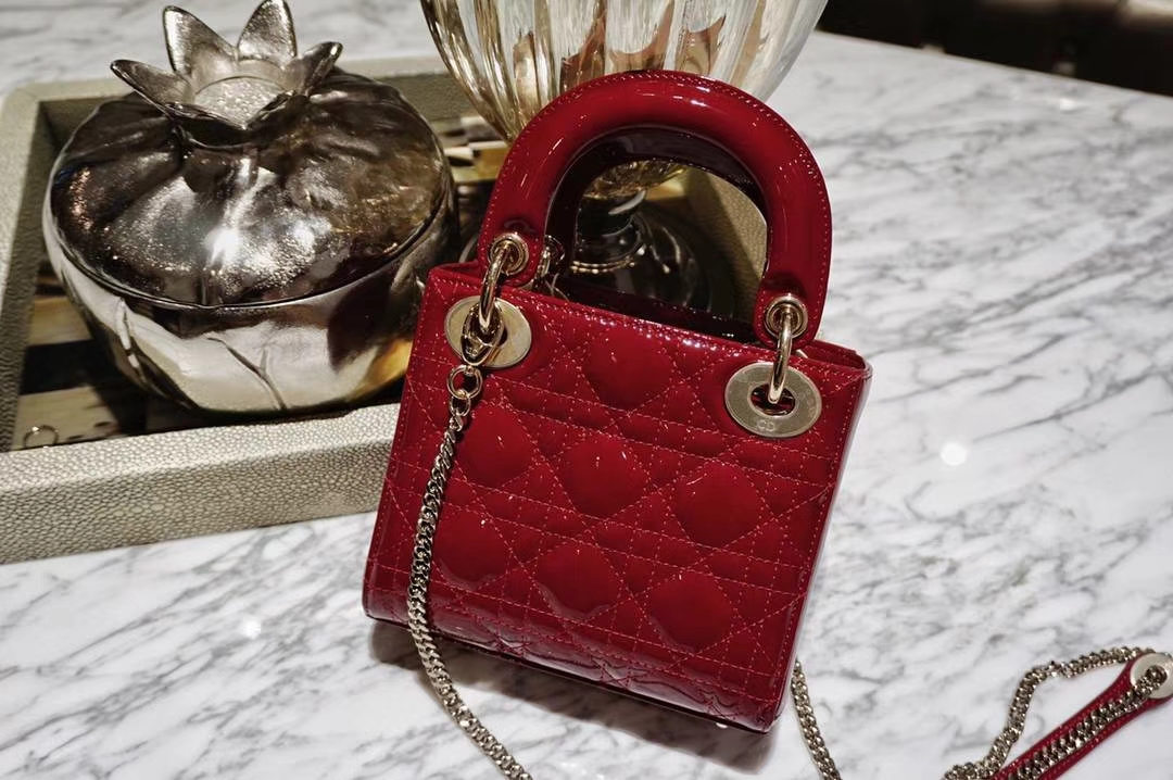 Dior 迪奥 mini 漆皮酒红色 戴妃包 三格