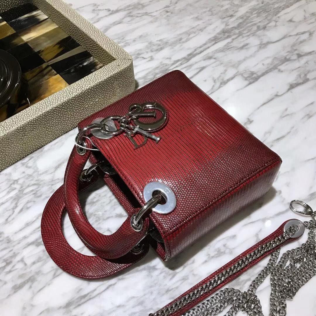 蜥蜴皮Dior 迪奥 戴妃包 新款来袭 蜥蜴皮渐变色 18K真金电镀五金 保五年不掉色
