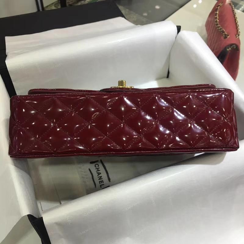 Chanel 香奈儿 ClassicFlap漆皮 酒红 25cm 金(现货)