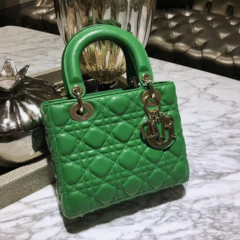 Dior 迪奥 戴妃包 Lady Dior 全新 原厂进口皮 仙人掌绿 金扣 实拍