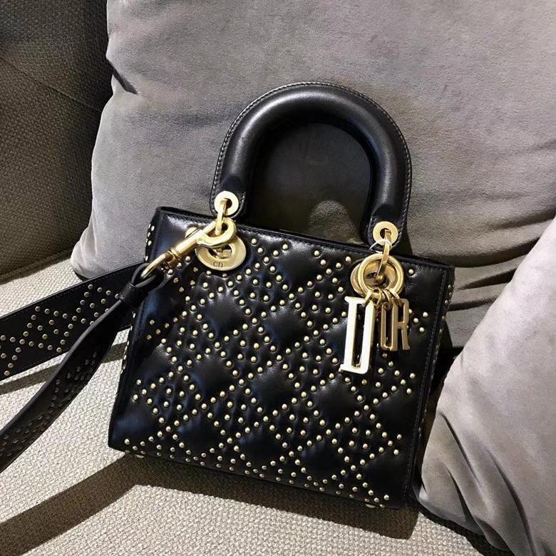 Dior 迪奥 戴妃包 Lady Dior 全新 原厂进口皮 经典黑 铆钉款 实拍