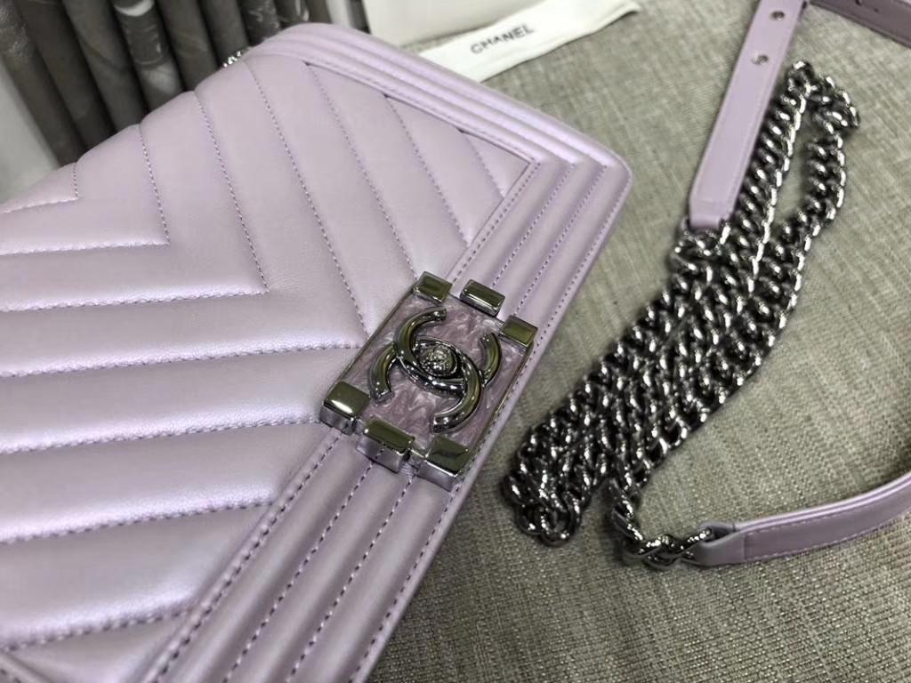 Chanel Leboy Bag 大Vv款 小羊皮 珠光粉 25cm 大理石纹琉璃扣 Dream Bag系列
