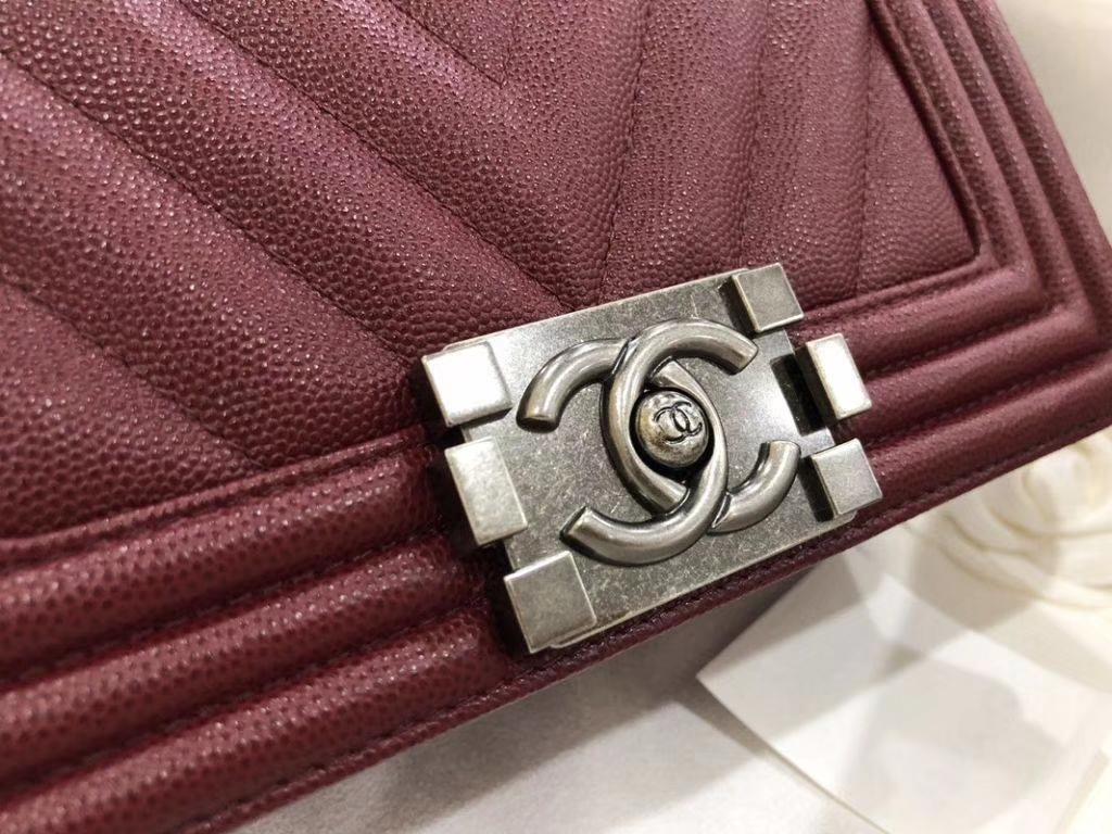 Chanel Leboy Bag 大Vv款 小鱼子酱 枣红 20cm 古银扣