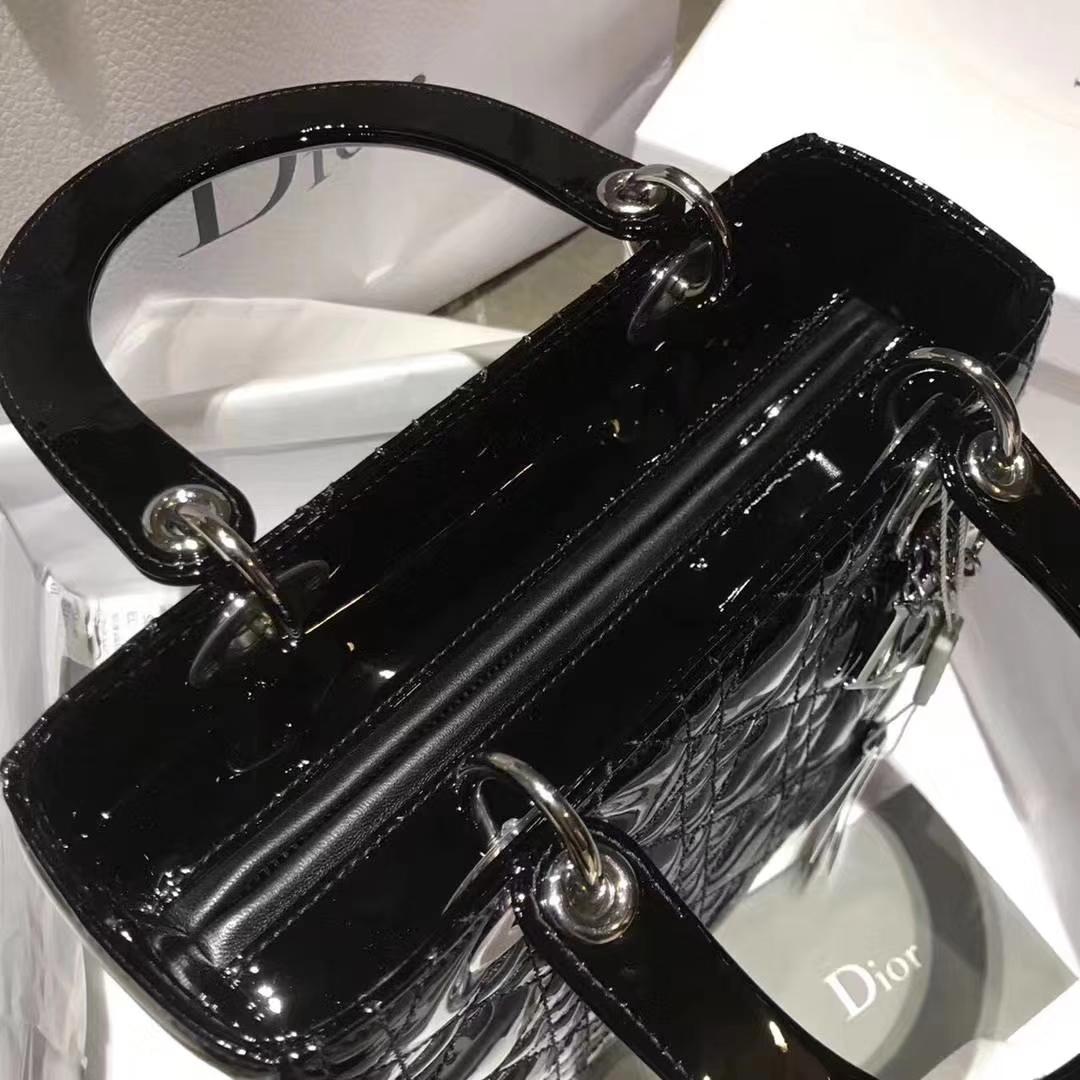 Dior 迪奥戴妃包 Lady Dior 戴妃5格 银扣 进口漆皮 经典黑
