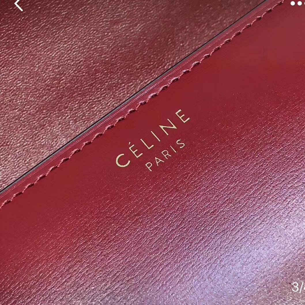 Celine 思琳Box 豆腐包复古红 金扣 ZP拆版 专柜品质 识货来