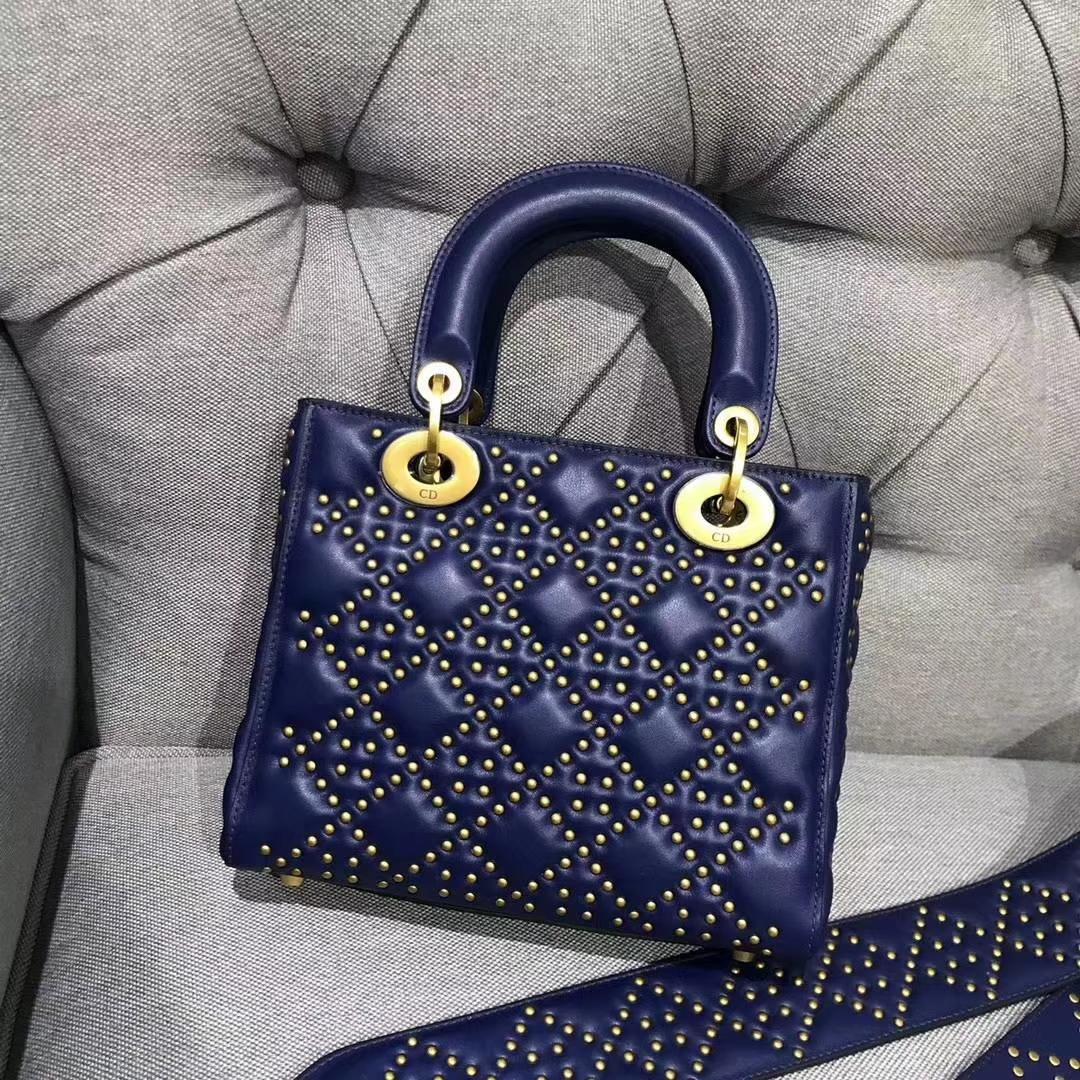 Dior 五格(24cm)复古风牛皮铆钉包 蓝色 戴妃包 Lady Dior