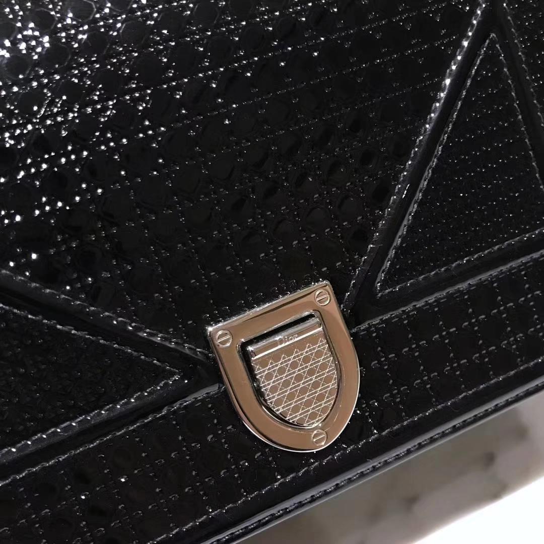 Dior 迪奥腾格纹 漆皮 黑色 21cm/25cm DIORAMA