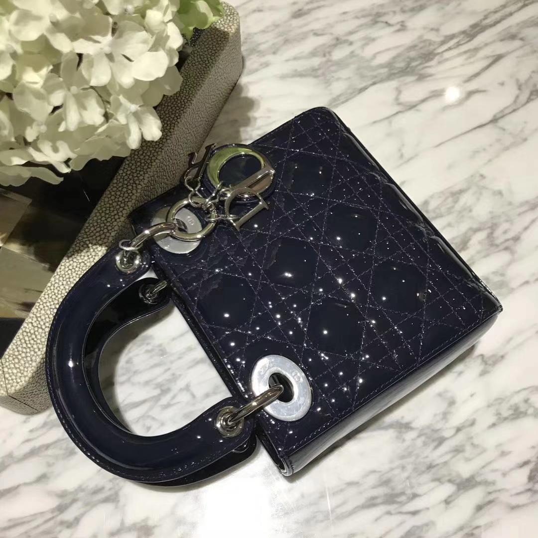 Dior 迪奥 mini 漆皮 戴妃包 Lady Dior 完美 ZP打版 海军蓝