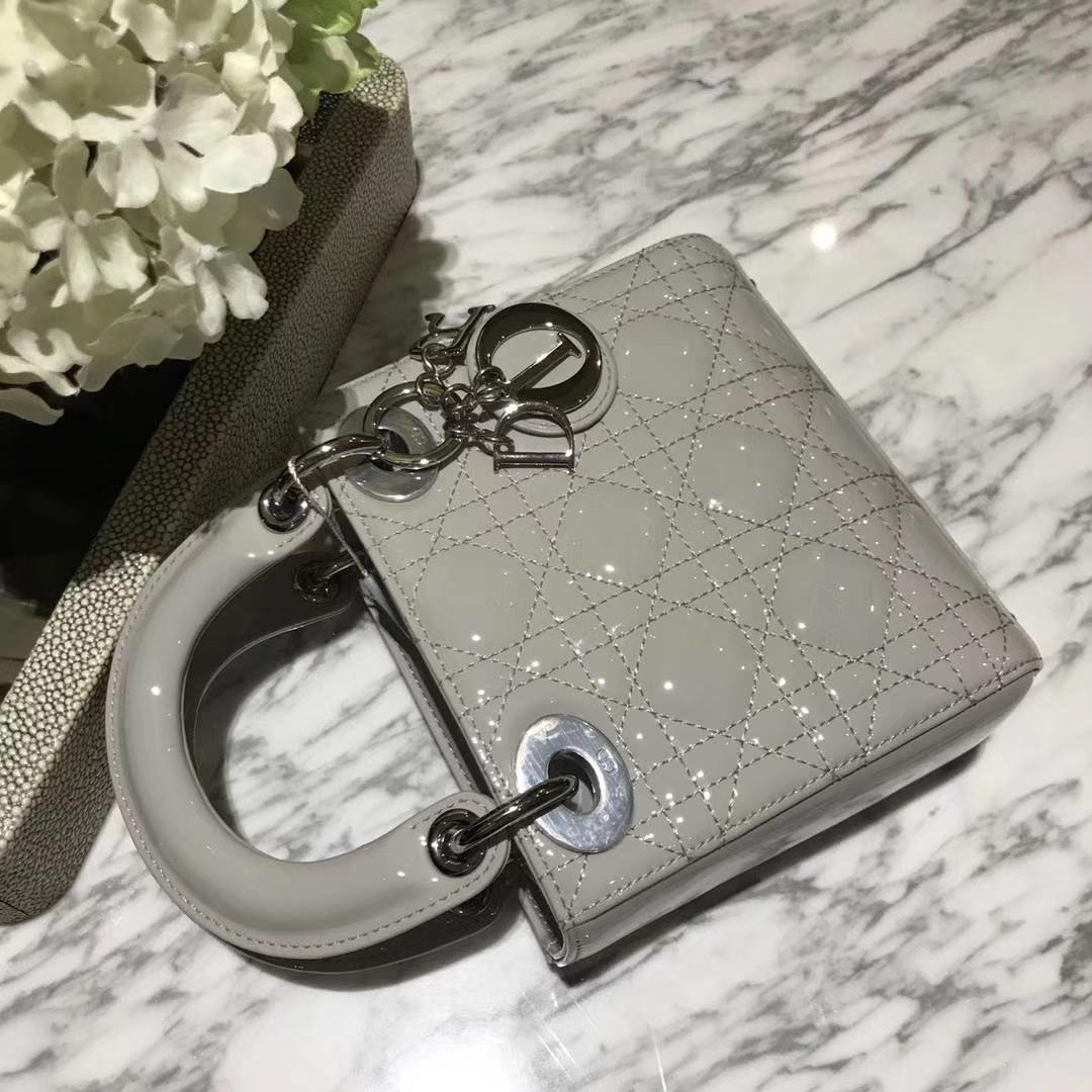 Dior 迪奥 mini 漆皮 戴妃包 Lady Dior 完美 ZP打版 珍珠灰
