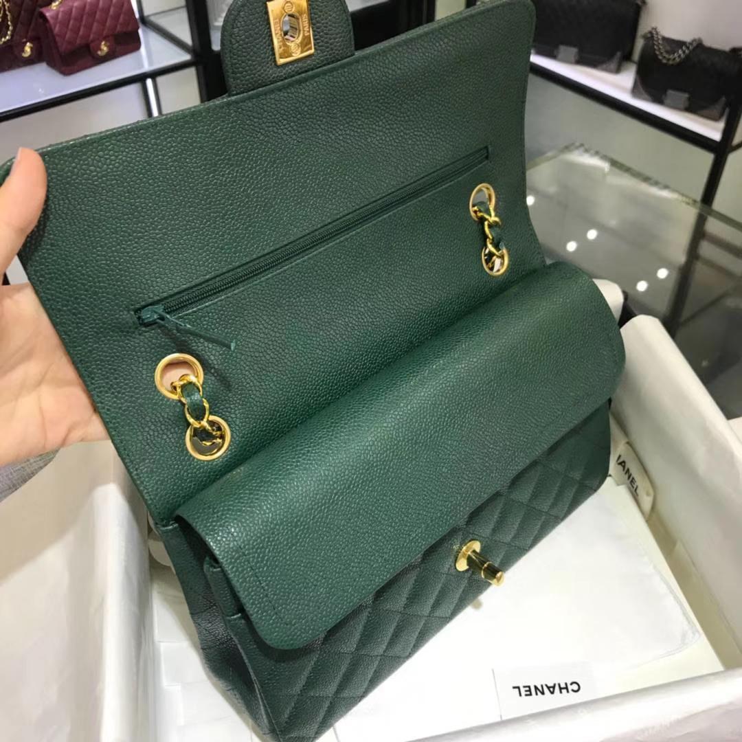 CF 小香 最经典系列 专柜最新颜色 孔雀绿配上金色五金 中号25cm 现货