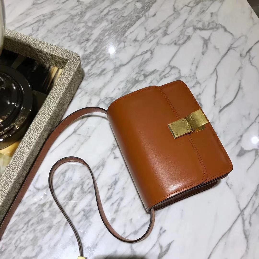 Celine 思琳box豆腐包 焦糖色 中号24cm 原厂进口头层牛皮 广州女包批发