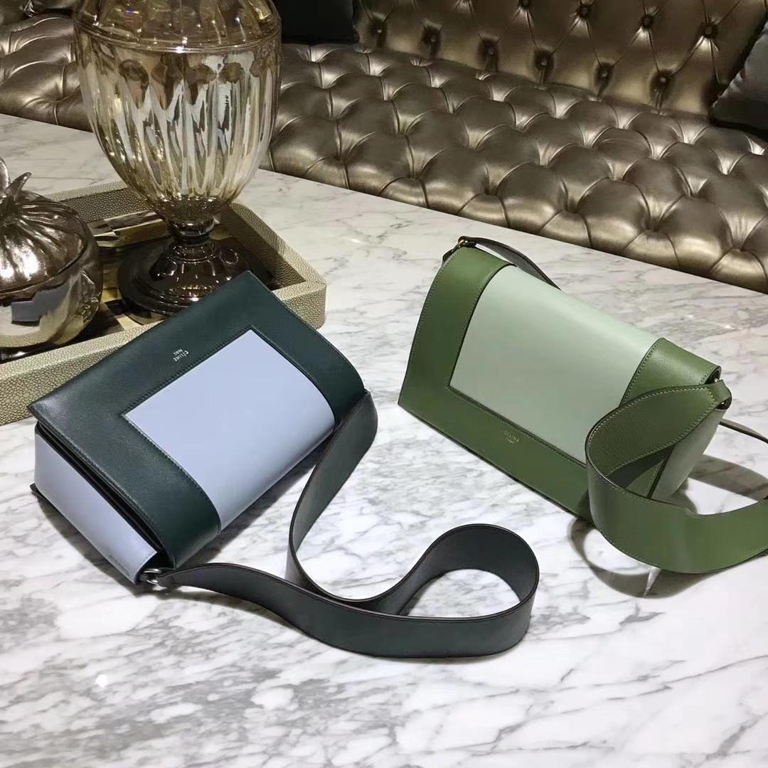 Celine 思琳 Frame 橄榄绿拼浅绿色 墨绿色拼浅蓝色 容量大 搭配皮肩带 一件代发 代购品质