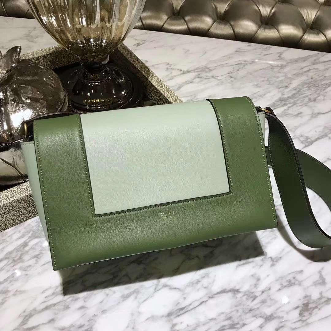 Celine 思琳 Frame 橄榄绿拼浅绿色 容量大 搭配皮肩带 一件代发 代购品质