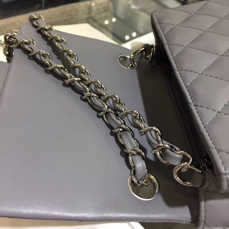 Chanel 香奈儿 羊皮 锡器灰 17cm 银扣 现货