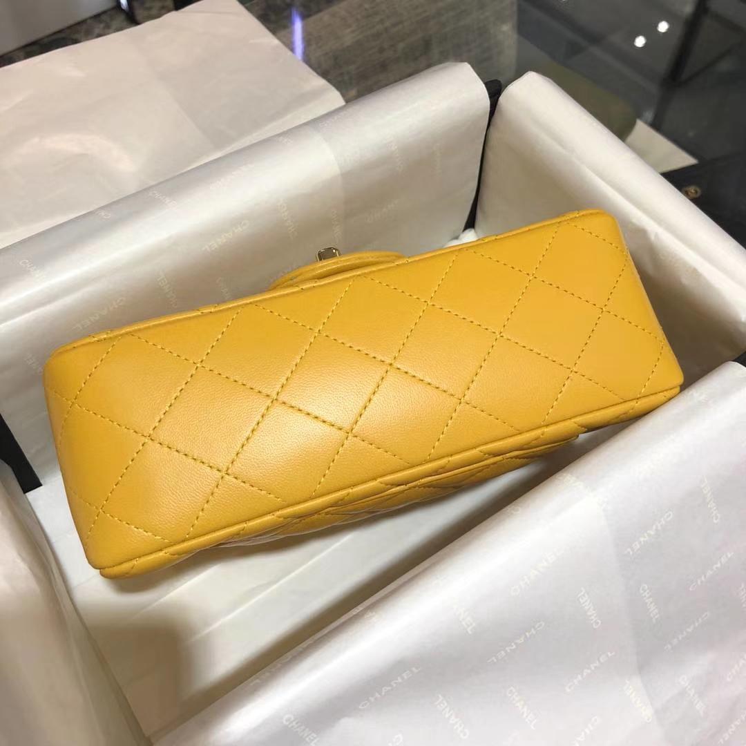 Chanel 香奈儿 Cf 经典系列 小羊皮 芒果黄 20cm 金扣