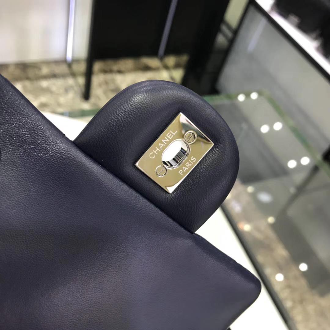 Chanel 香奈儿 方胖子 17cm 原厂皮小羊皮 宝石蓝