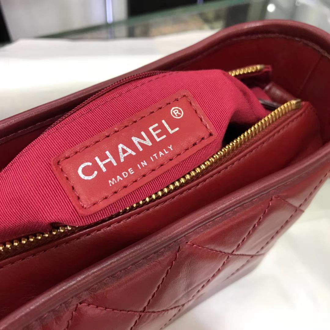 Chanel 香奈儿 Gabrielle 20cm 原厂树膏皮 酒红色