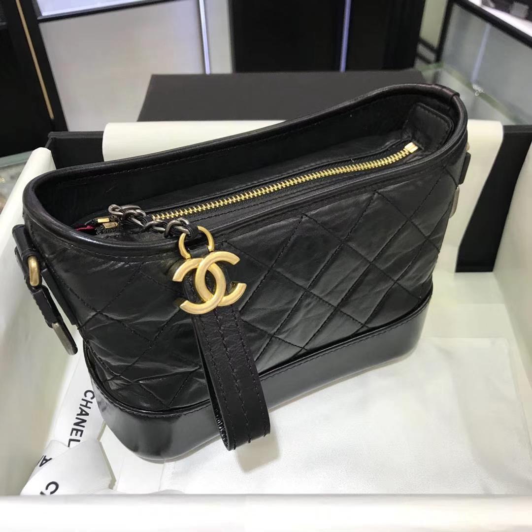 Chanel 香奈儿 Gabrielle 20cm 原厂树膏皮 黑色