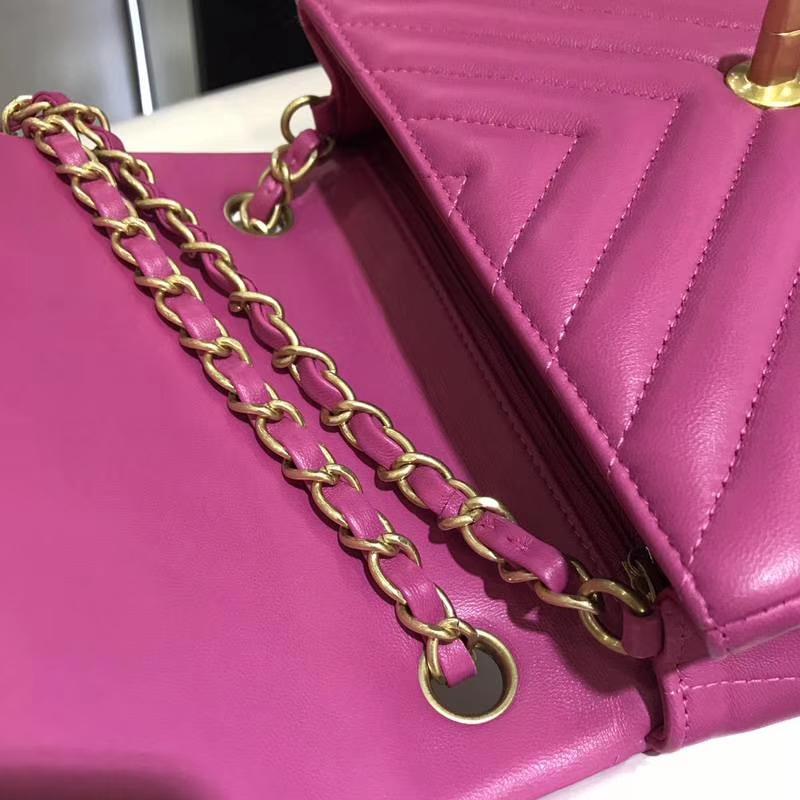 Chanel 香奈儿 V字绣 20cm 进口小羊皮 玫红色 配上怀旧金