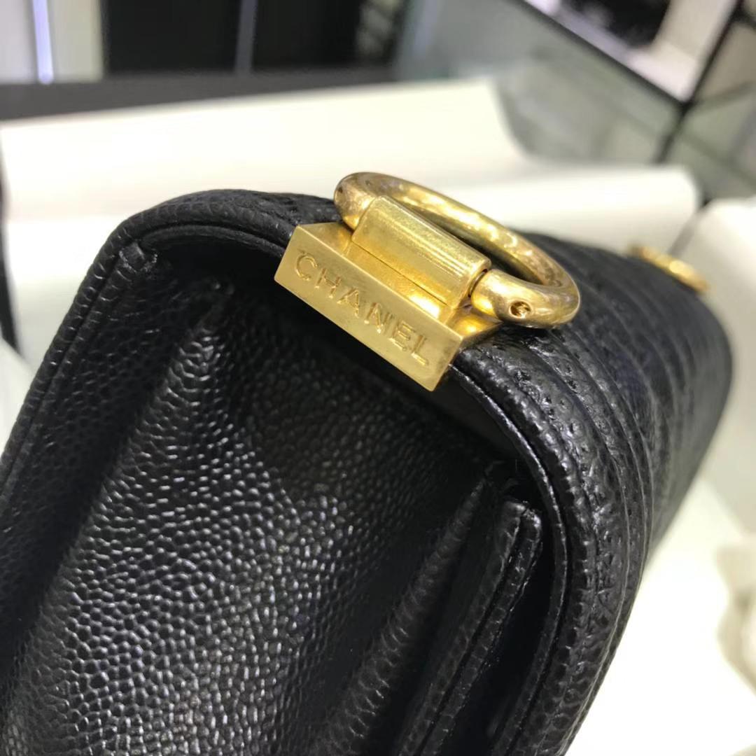 Chanel 香奈儿Leboy 25cm 原厂皮鱼子酱 黑色 亚金