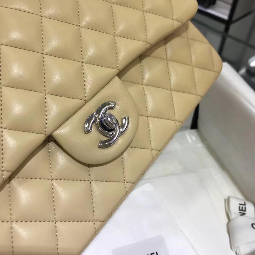Chanel 香奈儿 CF经典系列 25cm 原厂皮小羊皮杏色 银色