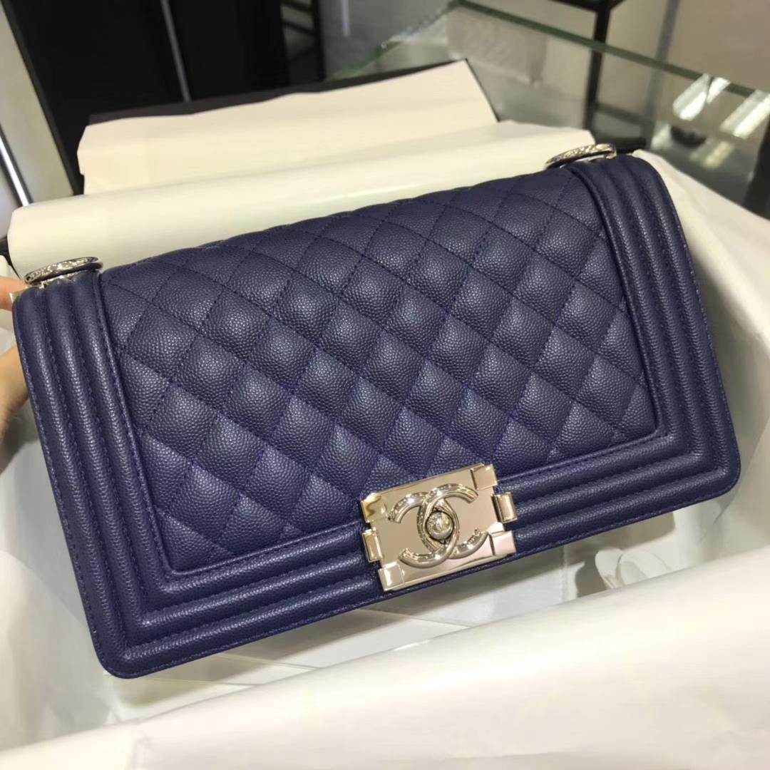 Chanel 香奈儿 Leboy 25cm 原厂皮小鱼子酱 海军蓝 银色 五金