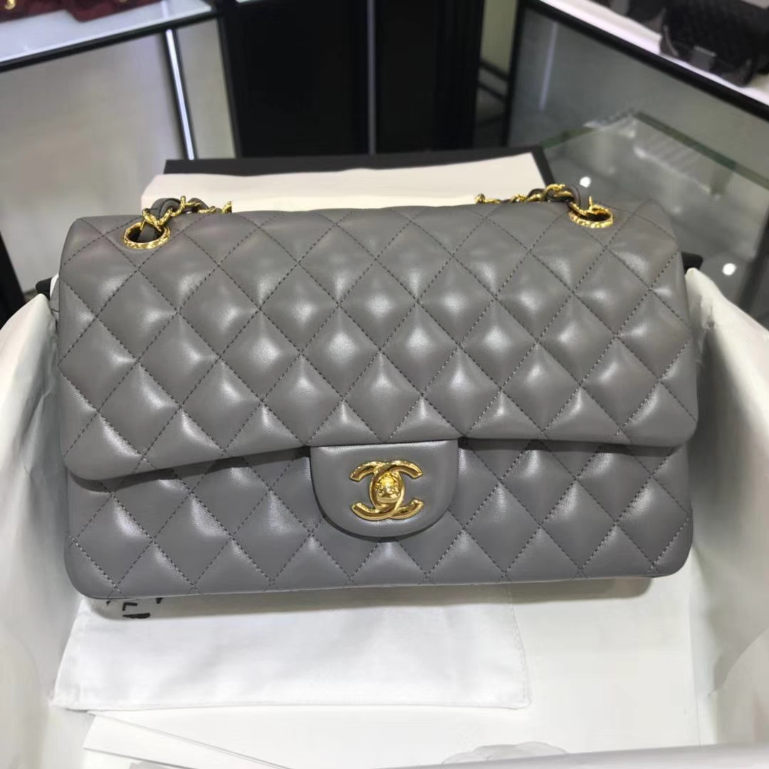 Chanel 香奈儿 CF经典系列 25cm 原厂皮小羊皮 锡器灰 金色五金