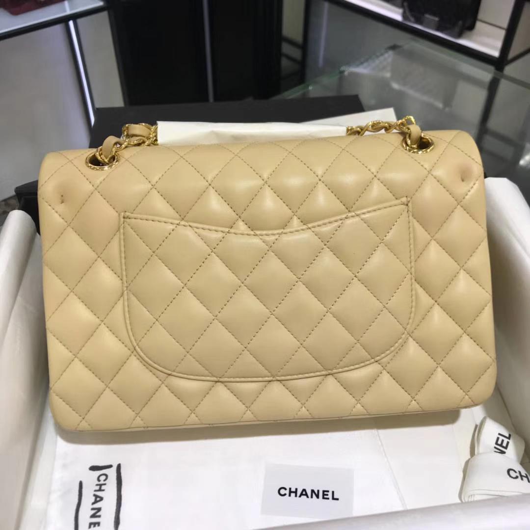 Chanel 香奈儿 CF经典系列  25cm 原厂皮小羊皮 杏色 金色五金