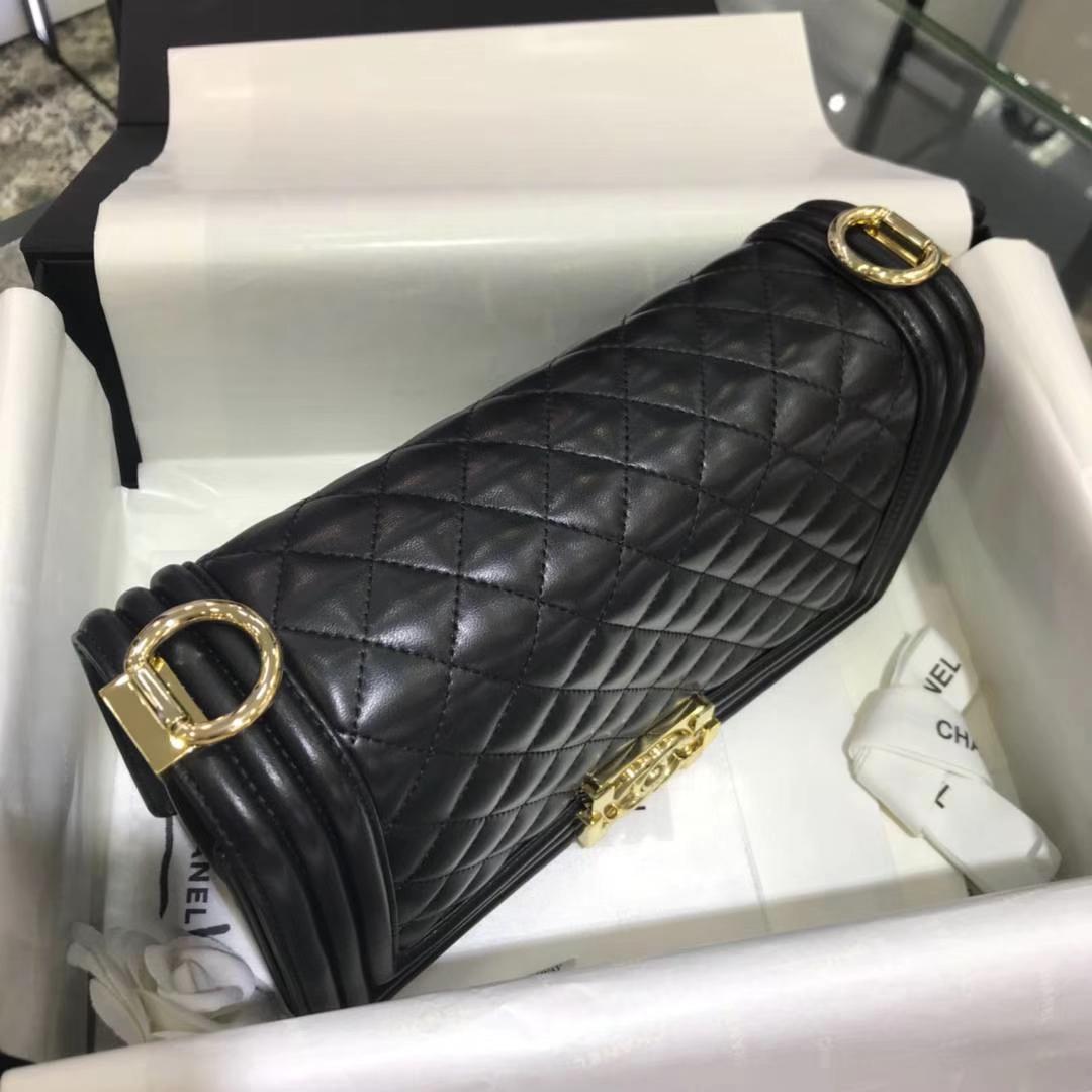 Chanel 香奈儿 Leboy 25cm 原厂皮小羊皮 黑色 亚金五金